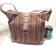 Slouch Handbag Stripe Purse CREAM Leather Trim Shoulder Bag Longaberger