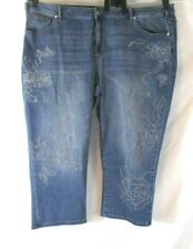 Lane Bryant Girlfriend Crop Jeans Embroidered Blue Denim Sz 26 Pants Women DD526