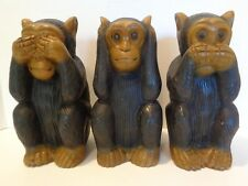 "3 Wood See No Evil Speak No Evil Hear No Evil Handcrafted Monkey figures 8-1/2"""