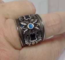 Sterling Silver Enameled Hand Crafted Signed NF Ring Size 9