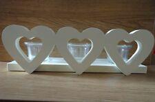 Tre Cuore Candela Tea Light Holder Crema contemporaneo in legno NUOVO