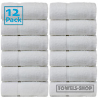 12x White Guest Towels Hotel Quality Super Soft 100% Organic Cotton 30 x 50 cm