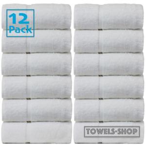 12x White Guest Towels Hotel Quality Super Soft 100% Organic Cotton 30 x 50 cm