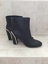 Diane von Furstenberg Women's Black Leather Ankle Boots with Gold Trim NEW