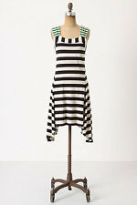 ANTHROPOLOGIE SPLIT STRIPES DRESS XS HWR MONOGRAM BLACK GREEN CREME STRIPES