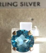 TEXAS STAR CUT SWISS BLUE TOPAZ RING SIZE 7-3.5 CT. Set n 925 STERLING SILVER