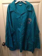 Betty Dain STYLIST WEAR 3/4 Sleeve Long Nylon Beautician Teal Shirt/Jacket Plus