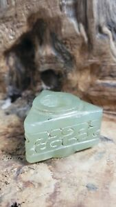 Chinese HONGSHAN CultureOld Green Jade{1.5inch X 1.25inch X 1.75inch}