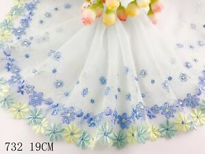 """7.5""""*1yard Delicate Light Blue Embroidered flower tulle Lace Trim sewing 732"""