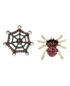 $32 Betsey Johnson And Boo To You Spider S Mismatch Spiderweb Stud Earrings Z61