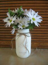 Chalk Painted Farmhouse Decor Rustic Distressed Quart Ball Mason Jar w/Daisies