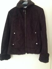 Womens faux suede jacket brown size 10