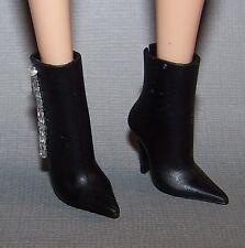 Barbie Doll Shoes Model Muse Barbie Basics Black Faux Zipper Boots Heels