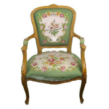 Needlepoint Armchair Fauteuil Louis XV style Carved Wood Hobnails HTF  Flowers
