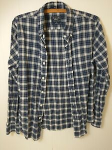 Abercrombie & Fitch Mens Blue White Muscle Plaid Button Down Shirt Size Small