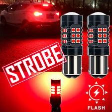 2pcs 1157 7528 2357 LED Red Flashing Strobe Bulbs For Rear Tail Brake Stop Light