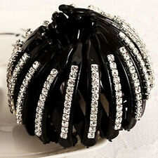 Women Ball Butterfly Claw Crystal Hair Bun Clip Clamp Ponytail Holder Accessory