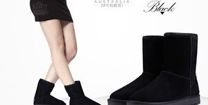 Women's Winter Leather/Suede Ankle Snow Boots Black Colors UK 7