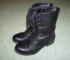 WOMENS SIZE 11 DEB BRAND BLACK LEATHER MILITARY STYLE BOOTS