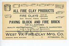 West Virginia Fire Clay Mfg—Antique PITTSBURGH Advertising Bricks 1910