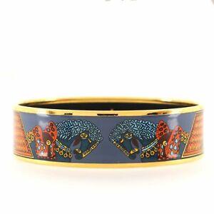 Hermes Bangle Bracelet Printed Enamel Wide