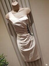Jane Norman Stunning White One Shoulder Midi Satin Ruched Dress Size 10