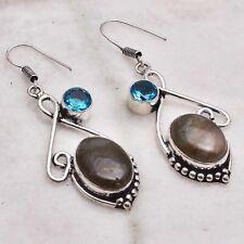 "Earrings Jewelry 2.16"" Ae 50975 Labradorite Blue Topaz Handmade Drop Dangle"