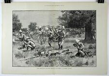 1890 THE HAMPSHIRE MOUNTED INFANTRY IN BURMAH Double-Page Woodblock Print