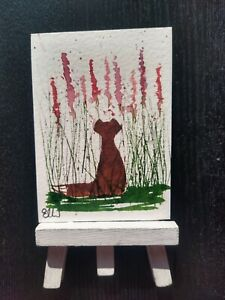 ELW Original, Aceo Cards.  Fox in the foxgloves.