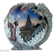 New In Box Alabastrite Dragon And Merlin The Wizard 3-D Plate Collectible Statue