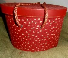 Vintage Sewing Box basket Fabric Covered Red Hearts
