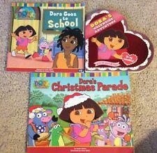 Dora the Explorer 3 book lot: Goes to School, Valentine Adventure, Christmas