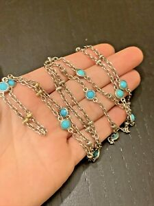"Judith Ripka 32"" Turquoise 18K Yellow Gold Sterling Silver Chain Necklace"