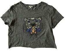 64d252c6d9 KENZO Paris Women's Tiger T-Shirt L Heathered Grey (Cropped/Cut)