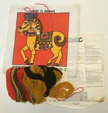 CEWEC Carousel Horse Needlepoint Kit On Double Mesh Canvas  Made in Denmark