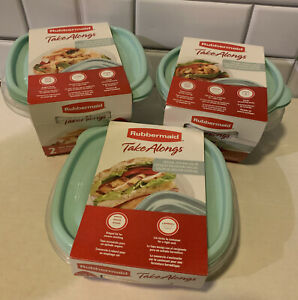 Lot Rubbermaid Take Alongs Food Storage Containers TEAL 6 Piece Set NEW