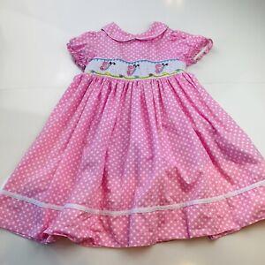 Marmellata Smocked Dress Pink White Dot Short Sleeve Butterfly Size 4