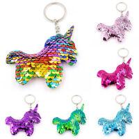 Cute Unicorn Keychain Pendants Glitter Sequins Keyring for Women Bag Accessories