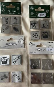 CARD COLLECTION DECORATIVE METAL  EMBELLISHMENTS SPORTS, CARS & TOOLS