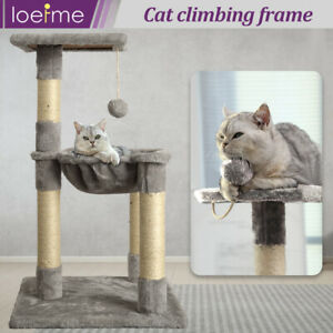 Pet Cat Tree Scratching Posts Natural Sisal Hammock Bed Kitty Activity Center UK