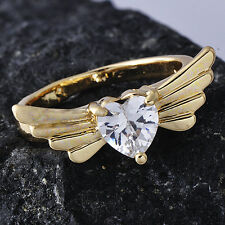 Special 14k Gold plated Womens Ring Angel's Wings Clear Heart Crystal SZ 7