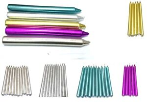 10 x Metalic Colourful Dinner Candles NON-DRIP Tapered Candles Home PartyChurch