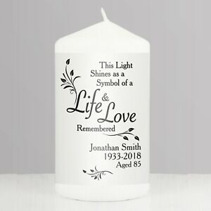 Personalised Candle Loving Memory Remembrance Memorial Candle Any Name Age