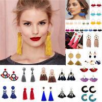 Fashion Bohemian Jewelry Elegant Fan Tassel Earrings Long Drop Dangle Women Gift