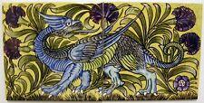William De Morgan 2 Tile Dragon Panel / Bathroom / Kitchen / Splashback / Plaque