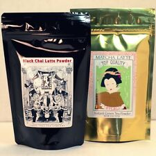 Black Chai Latte Powder 8oz bag + Matcha Latte Powder 8oz bag Set