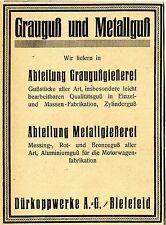 Dürkoppwerke A.G. Bielefeld GRAUGUSS und METALLGUSS Historische Reklame von 1923