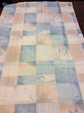 Blue Cream Floral Leaves Shower Curtain Pictorial Squares New