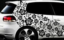 96x pièces XXL Autocollants Pour Voiture Hibiscus Fleurs Papillons Hawaï