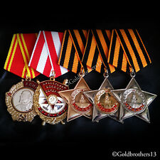 5x Order of Lenin , Red Banner & Glory 1st, 2nd, 3rd class Russian Medals Repro